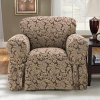 Sure Fit® Scroll 1-Piece Chair Slipcover in Brown