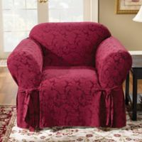 Sure Fit® Scroll 1-Piece Chair Slipcover in Burgundy