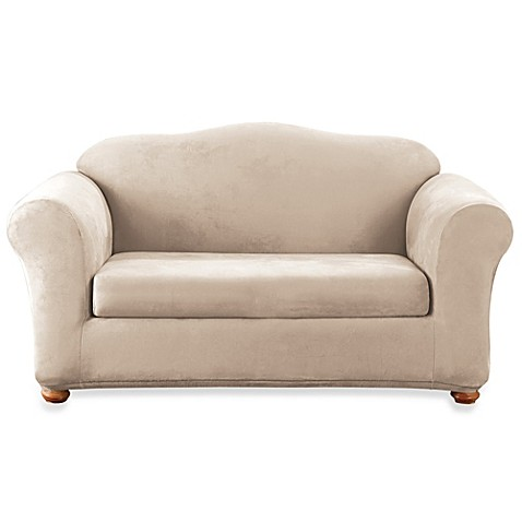 Sure Fit Stretch Suede 2 Piece Loveseat Cover In Taupe Bed Bath Beyond