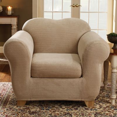 Sure Fit® Stretch Royal Diamond 2 Piece Chair Slipcover In Cream