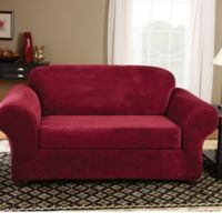 Sure Fit® Stretch Royal Diamond 2-Piece Loveseat Slipcover in Wine