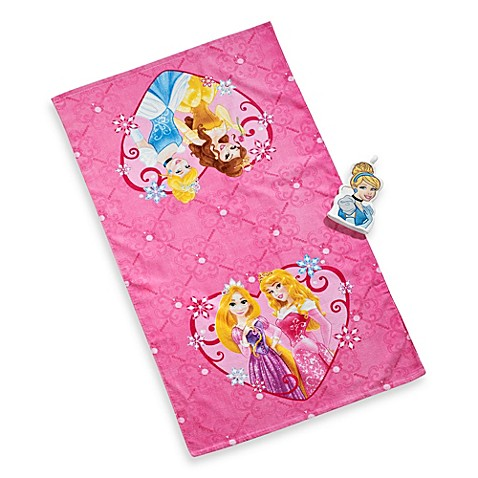 Beautiful Disney® Princess Tiara Bath Towel And Wash Mitt Set