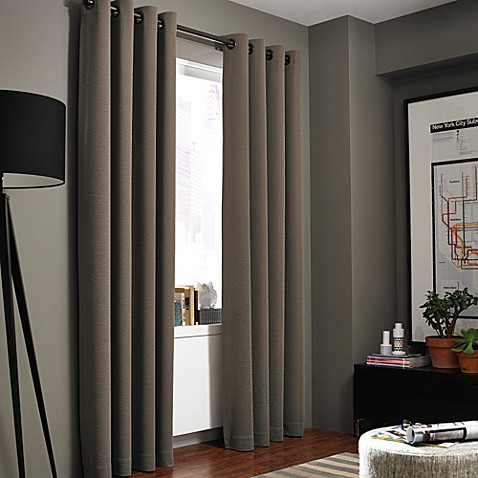 image of Kenneth Cole Reaction Home Gotham Texture Lined Grommet Window Curtain Panel