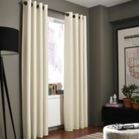 Kenneth Cole Reaction Home Gotham Texture 108-Inch Lined Grommet Window Curtain Panel in Chalk