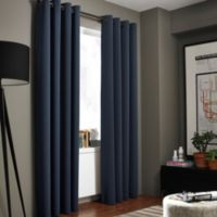 Kenneth Cole Reaction Home Gotham Texture 108-Inch Lined Grommet Window Curtain Panel in Midnight
