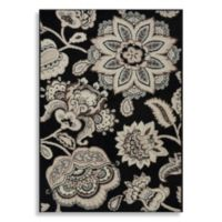 Westwood 2-Foot 4-Inch x 4-Foot 11-Inch Floral Accent Rug in Black