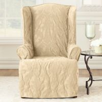 Sure Fit® Matelasse Damask Wing Chair Slipcover in Tan