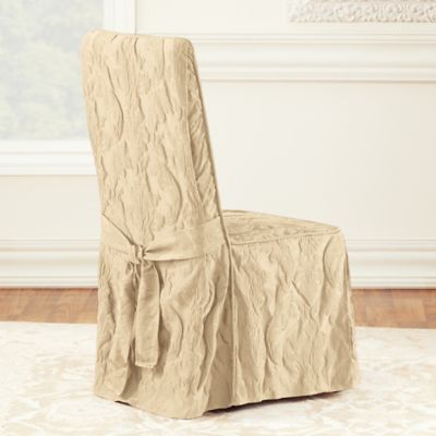 Sure Fit® Matelasse Damask One Piece Long Arm Dining Chair Cover In Tan