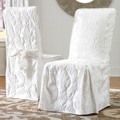 Sure FitR Matelasse Damask One Piece Long Arm Dining Chair Cover In White