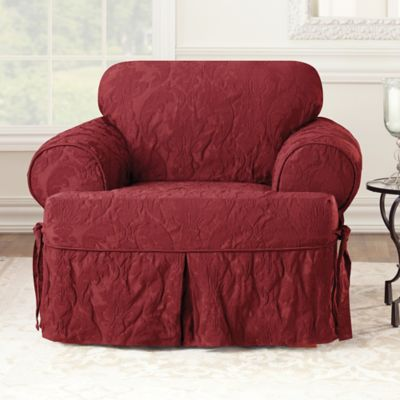 Sure Fit® Matelasse Damask T Cushion Chair Slipcover In Chili