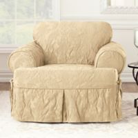 Sure Fit® Matelasse Damask T-Cushion Chair Slipcover in Tan