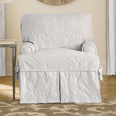 Delicieux Sure Fit® Matelasse Damask T Cushion Chair Slipcover In White