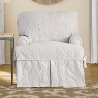 Sure Fit Matele Damask T Cushion Chair Slipcover In White