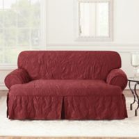 Sure Fit® Matelasse Damask 1Piece T-Cushion Loveseat Slipcover in Chili