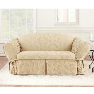 Sure Fit® Matelasse Damask 1 Piece Sofa Slipcover In Tan