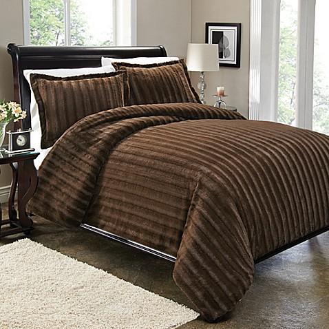 Sable Fur Duvet Cover Set In Brown