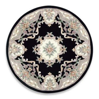 Rugs America New Aubusson 6 Foot Round Rug In Black