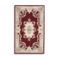 Rugs America New Aubusson 8-Foot x 11-Foot Rectangular Rug in Burgundy