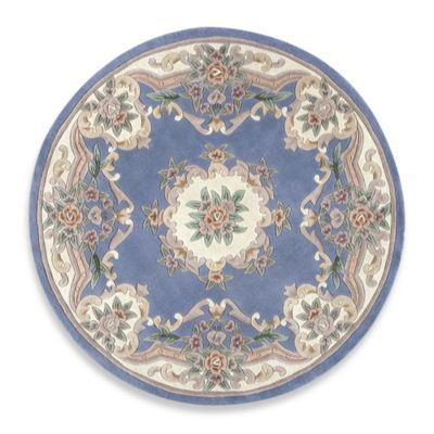 Rugs America New Aubusson 6 Foot Round Rug In Light Blue