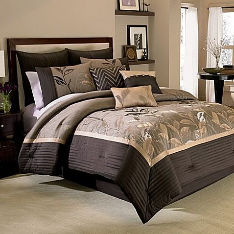 manor hill® eden 8-piece comforter and sheet set in thistle - bed