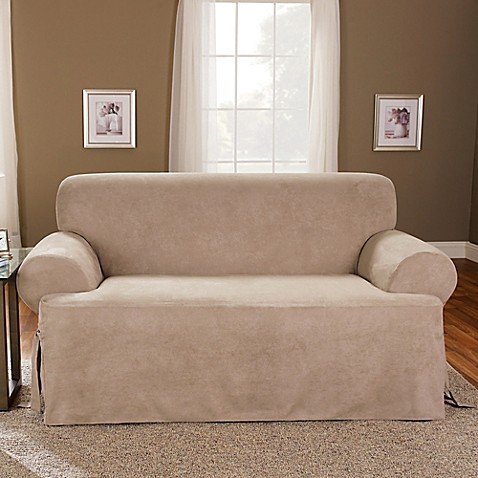 Sure Fit 174 Soft Suede T Cushion Loveseat Slipcover Bed