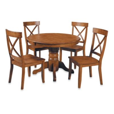 Home Styles Solid Wood 5 Piece Pedestal Table Dining Set In Cottage Oak  Finish