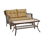 Stratford 2-Piece Wicker Loveseat Set in Tan