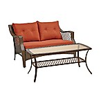 Stratford 2-Piece Wicker Loveseat Set in Terracotta