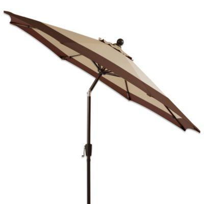 7 Foot Round Bistro Aluminum Umbrella In Border Stripe