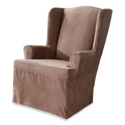 Superior Sure Fit® Soft Suede Wing Chair Cover