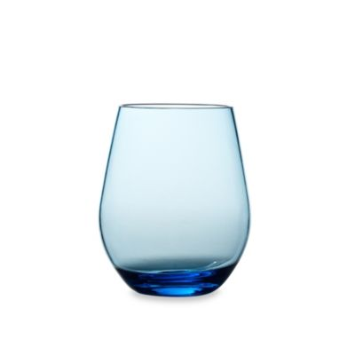 stemless red wine glass in cool blue - Plastic Stemless Wine Glasses