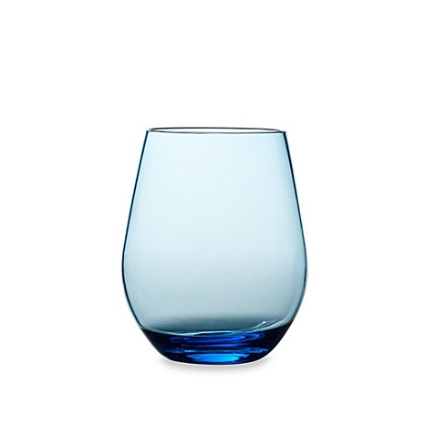 Shatterproof Stemless Red Wine Glass in Cool Blue