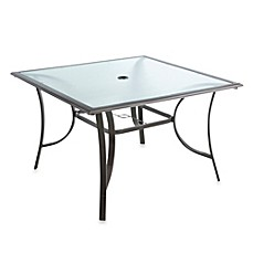 44 Inch 4 Person Square Glass Top Dining Table