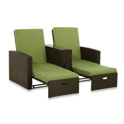 Wicker Double Chaise Lounge in Lime  sc 1 st  Bed Bath u0026 Beyond : double chaise lounge cushion - Sectionals, Sofas & Couches