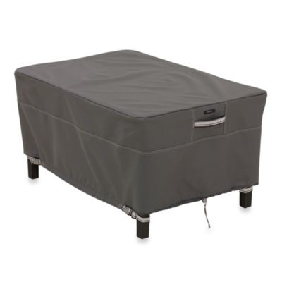 classic accessories ravenna small rectangular ottomanside table cover in dark taupe