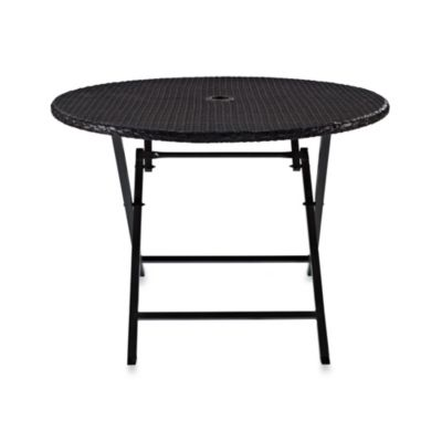 Crosley Palm Harbor Round Wicker Folding Table With Bronze Finish
