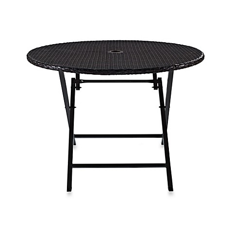 Crosley Palm Harbor Round Wicker Folding Table Bed Bath