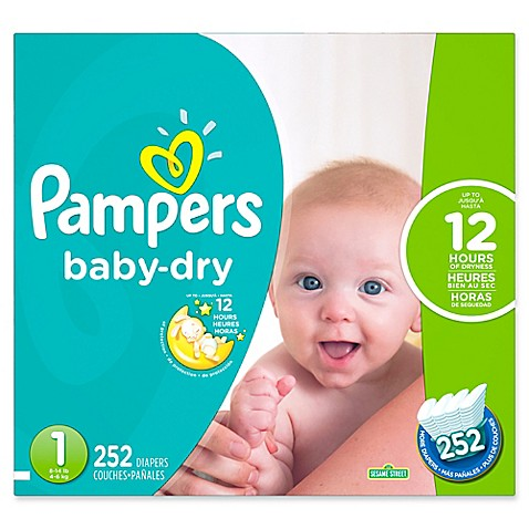 Pampers 174 Baby Dry 252 Count Size 1 Economy Pack Plus