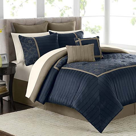 Mira 12 Piece Comforter Set In Navy Bed Bath Amp Beyond
