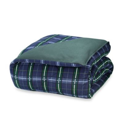 The Seasons Collection® Reversible Full/Queen Flannel Comforter in Blackwatch/Forest Green