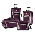 American Tourister® Fieldbrook II 4-Piece Rolling Luggage Set in Purple/Grey
