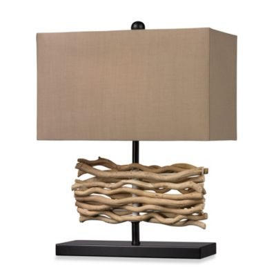Black Table Lamp with Caramel Cotton Shade