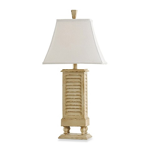 30 Inch Coastal Shutter Resin Table Lamp In Ivory Bed