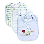 SpaSilk® 3-Pack Terry Bib with Car Applique in Blue