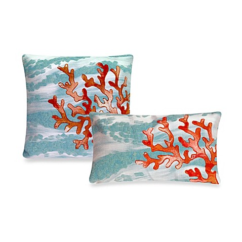Liora Manne Outdoor Throw Pillow Collection in Coral Wave Aqua - Bed Bath & Beyond