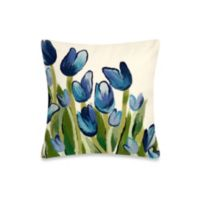 Liora Manne 20-Inch Square Outdoor Throw Pillow in Allover Tulips Blue