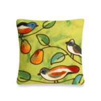 Liora Manne20-Inch Square Outdoor Throw Pillow in Song Birds Green