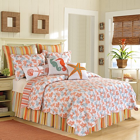 Catalina Quilt In Coral Bed Bath Amp Beyond