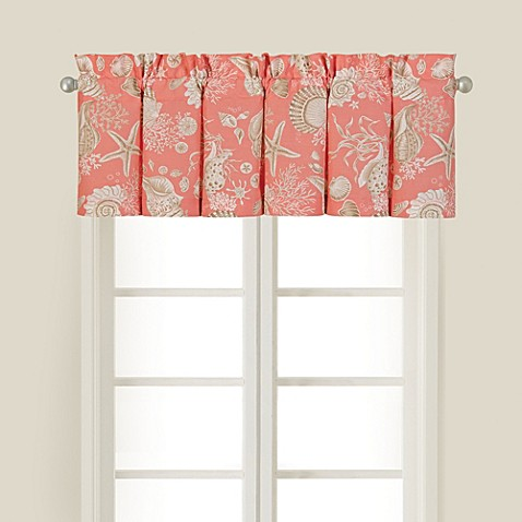 natural shells window valance in coral - bed bath & beyond