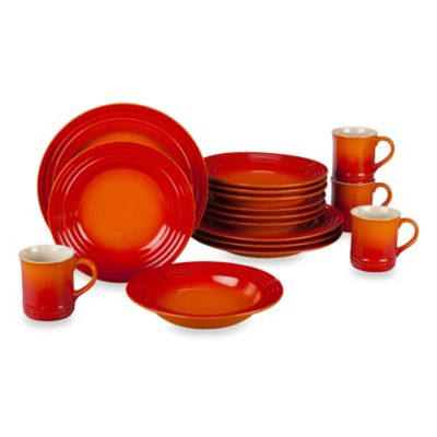 Le Creuset® 16-Piece Dinnerware Set in Flame  sc 1 st  Bed Bath \u0026 Beyond & Buy Dishwasher Microwave Oven Freezer Safe Dinnerware from Bed Bath ...